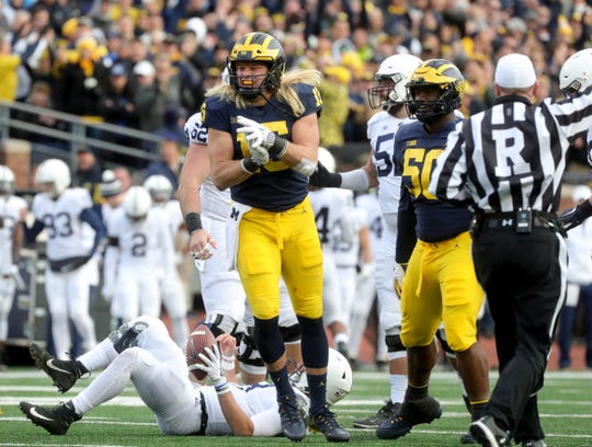 Michigan's Chase Winovich celebrates his sack against Penn State last season.