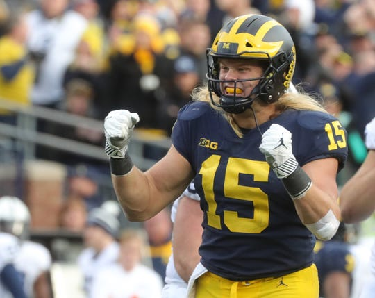 Michigan's Chase Winovich celebrates his sack against Penn State during the first half Saturday, November 3, 2018 at Michigan Stadium in Ann Arbor.