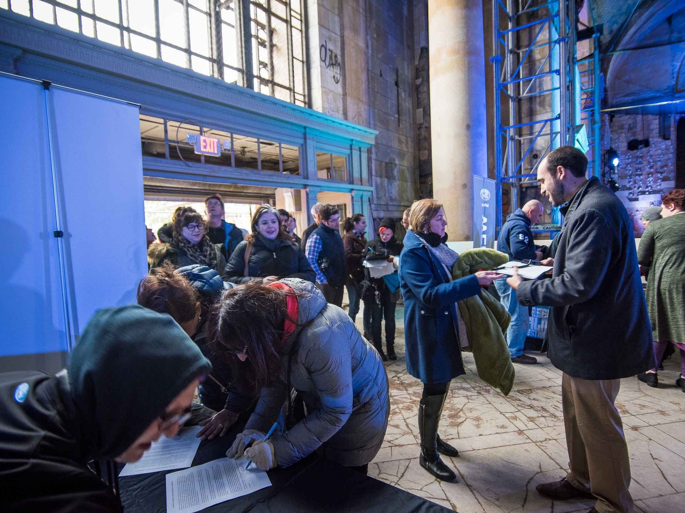 The Film Detroit: Comeback City 1st screening at the Michigan Central station as part of Freep Film Festival November 2, 2018.