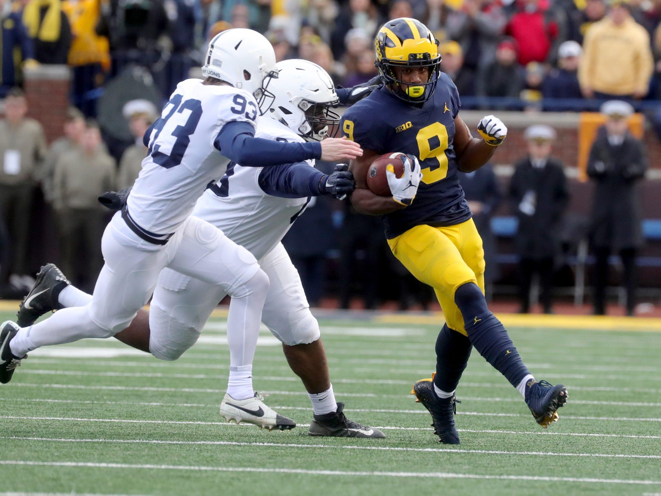 Michigan's Donovan Peoples-Jones runs for yardage against Penn State during the first half Saturday, November 3, 2018 at Michigan Stadium in Ann Arbor.