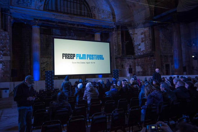 "Freep Film Festival presented two screenings of the documentary, ""Detroit: Comeback City,"" inside Michigan Central Station, the building that inspired it, on Nov. 2. 2018."