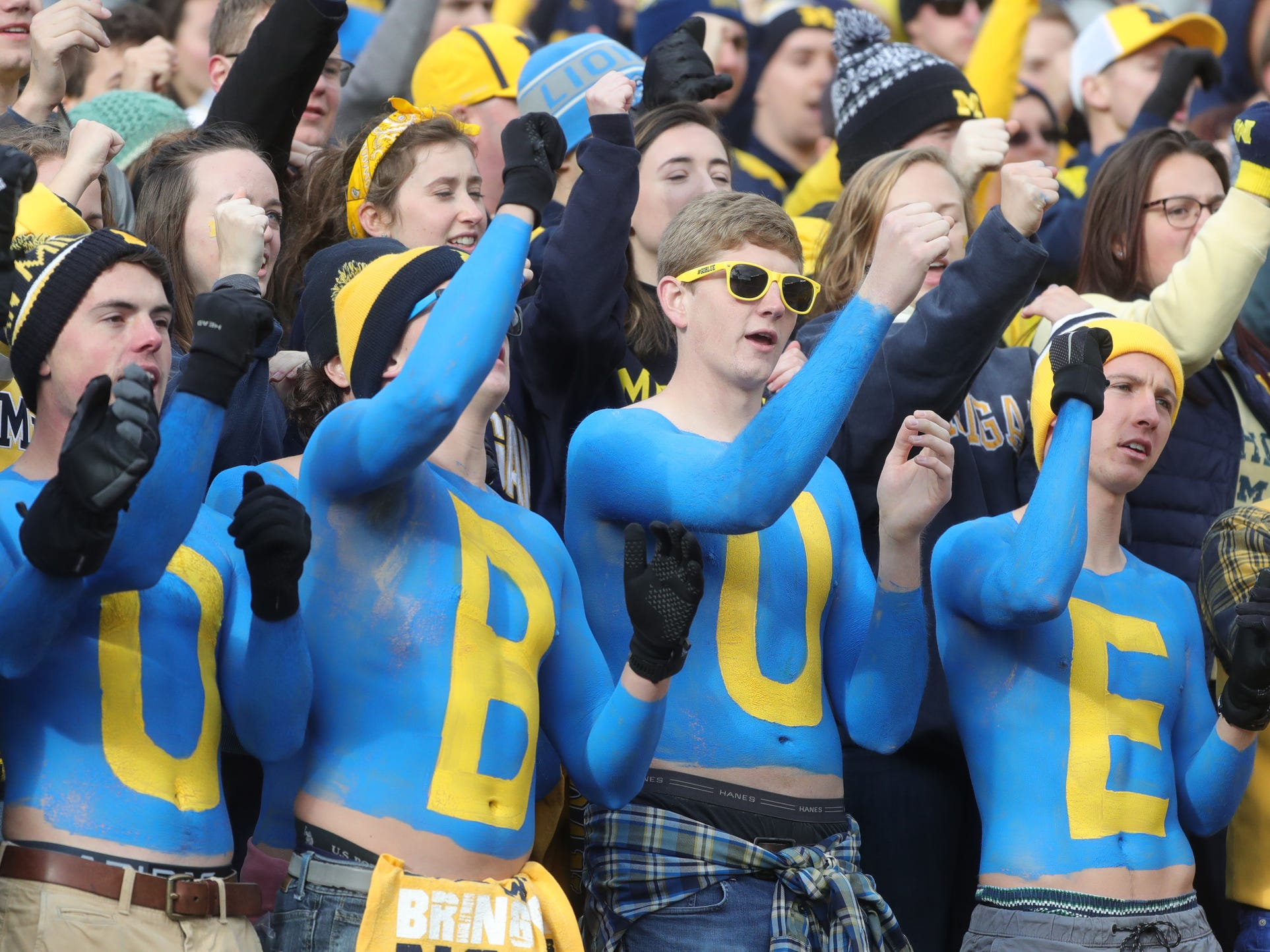 Michigan fans cheer against Penn State during the first half Saturday, November 3, 2018 at Michigan Stadium in Ann Arbor.