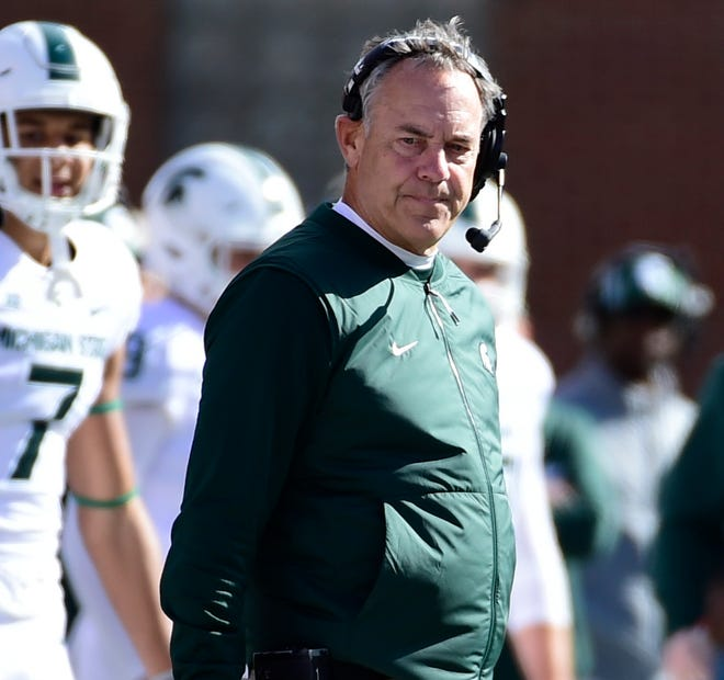 Michigan State coach Mark Dantonio looks down the sideline during the second quarter at Capital One Field on Saturday, Nov. 3, 2018 in College Park, Maryland.