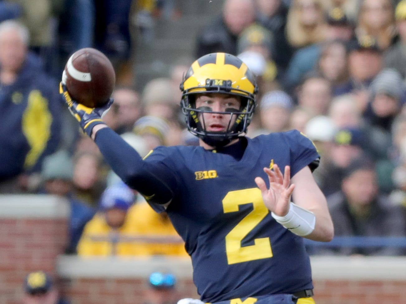 Michigan quarterback Shea Patterson looks to pass against Penn State during the first half Saturday, November 3, 2018 at Michigan Stadium in Ann Arbor.