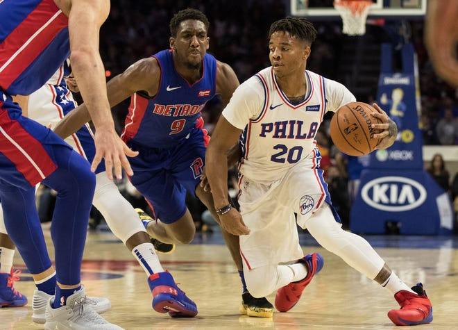 76ers guard Markelle Fultz moves past Pistons guard Langston Galloway during the Pistons' 109-99 loss Nov. 3, 2018, in Philadelphia.