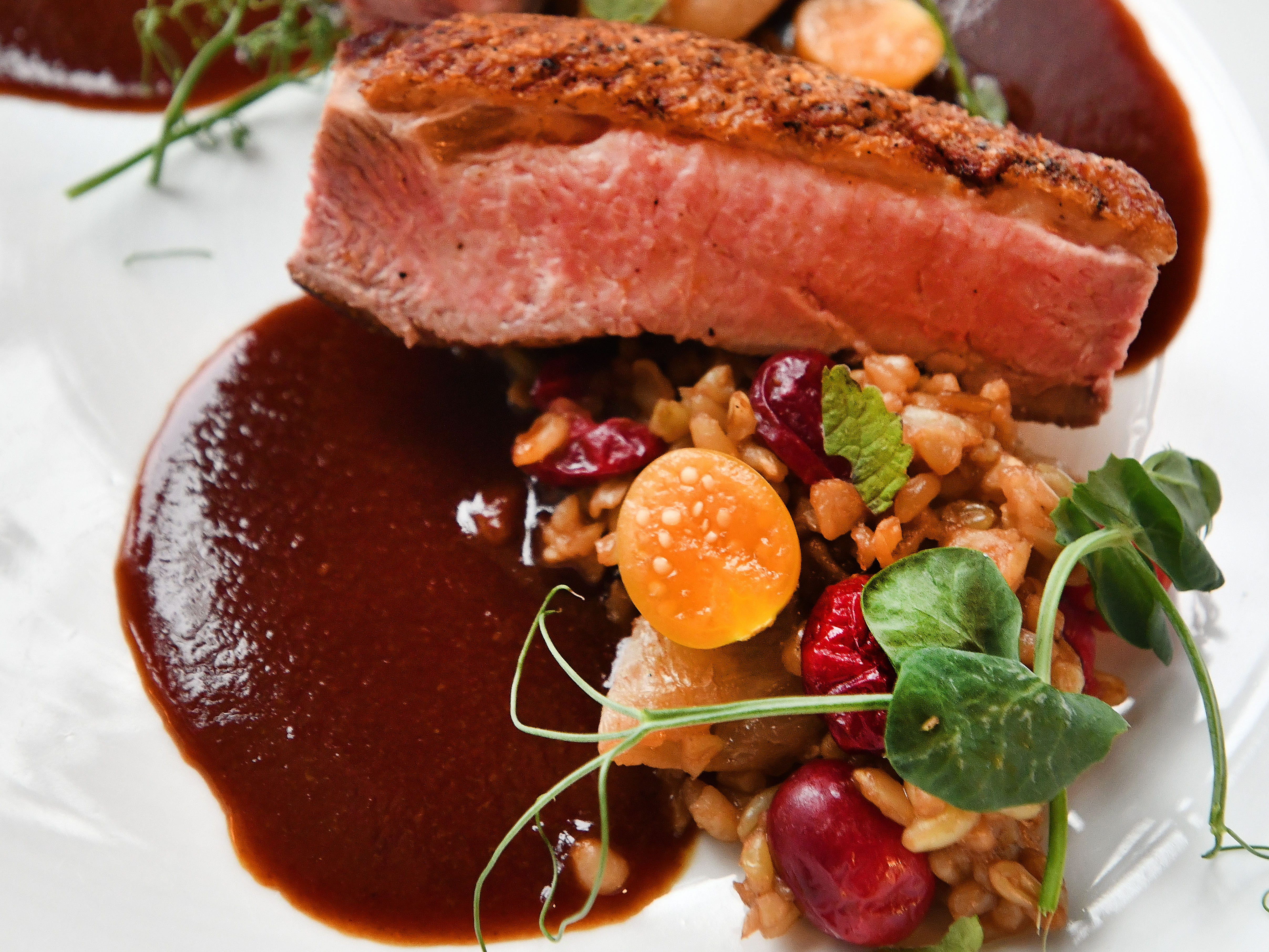 Rohan duck breast consisting of farro verde, mushroom, gooseberry, anise, cranberry and jus.