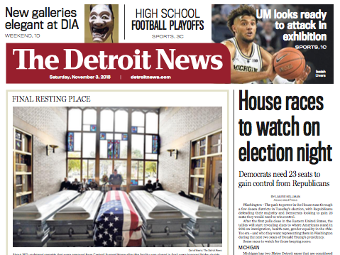 The front page of The Detroit News on Saturday, November 3, 2018.