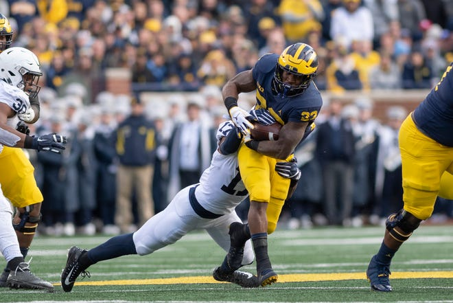 Michigan running back Karan Higdon has rushed for 963 yards this season.