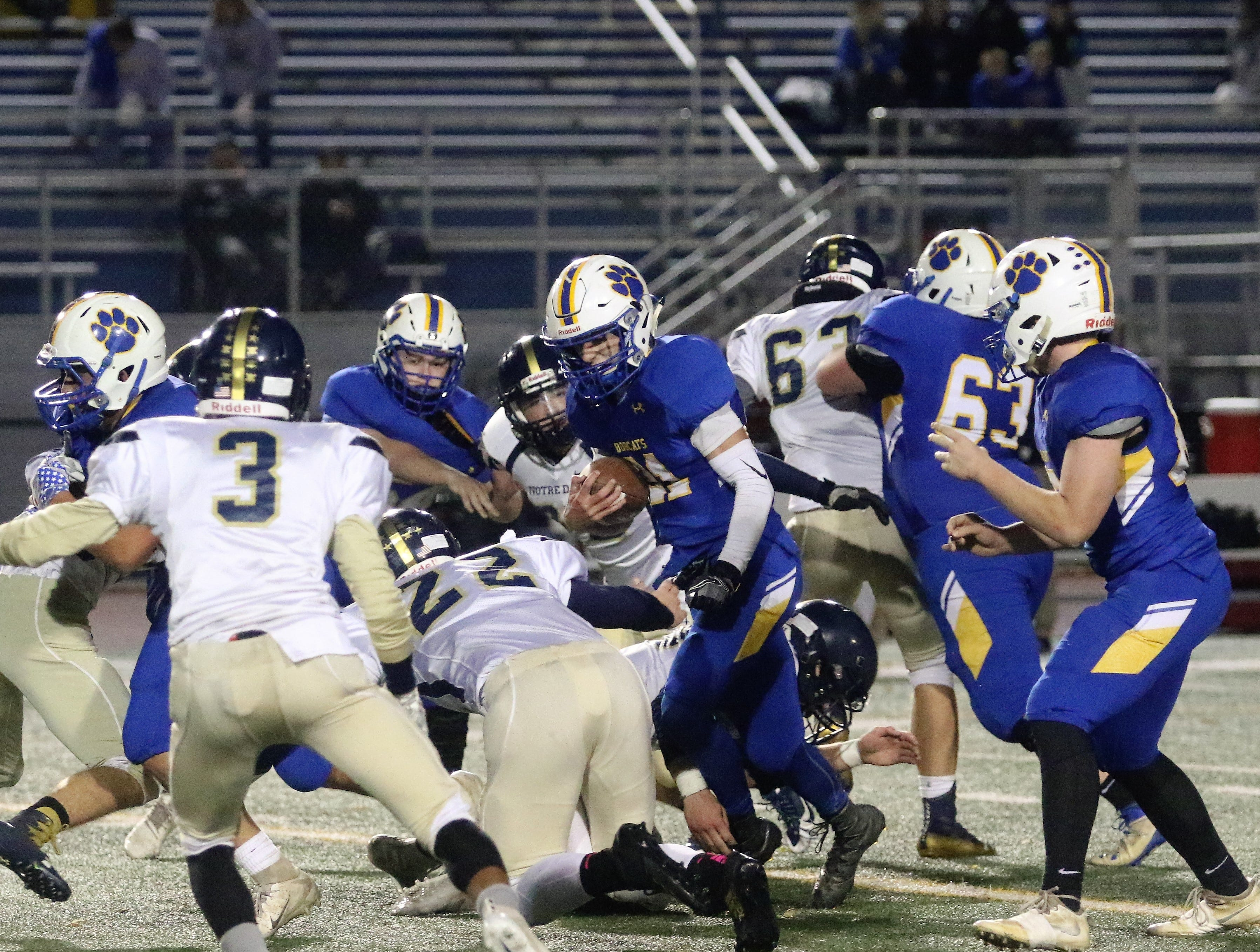 Elmira Notre Dame was a 38-20 winner over Lansing in the Section 4 eight-man football championship game Nov. 2, 2018 at Binghamton Alumni Stadium.