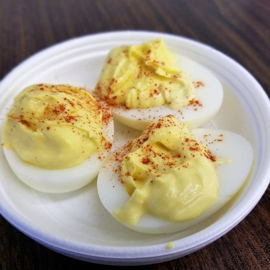 Homemade devilled eggs, creamy with just a touch of sweetness at Emge's Deli and Ice Cream in Evansville.