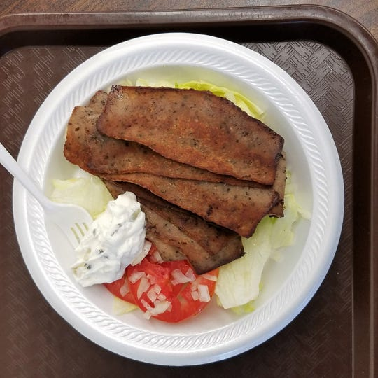 We chose to eat our gyro with crispy-edged slices of gyro meat and cucumber-yogurt tzatziki sauce as a salad instead of a sandwich.