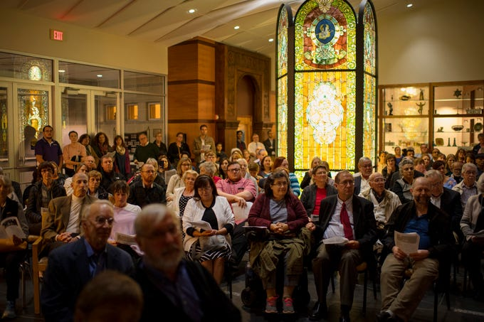 The entrance lobby of Temple Adaith B'Nai Israel in Evansville serves as a second sanctuary during Shabbat services Friday night. The synagogue invited members of the community to join in the service which marks the start of the Jewish sabbath. The killing of 11 worshippers at a Pittsburgh, Penn., synagogue last Saturday was the catalyst for the national #ShowUpForShabbat event.