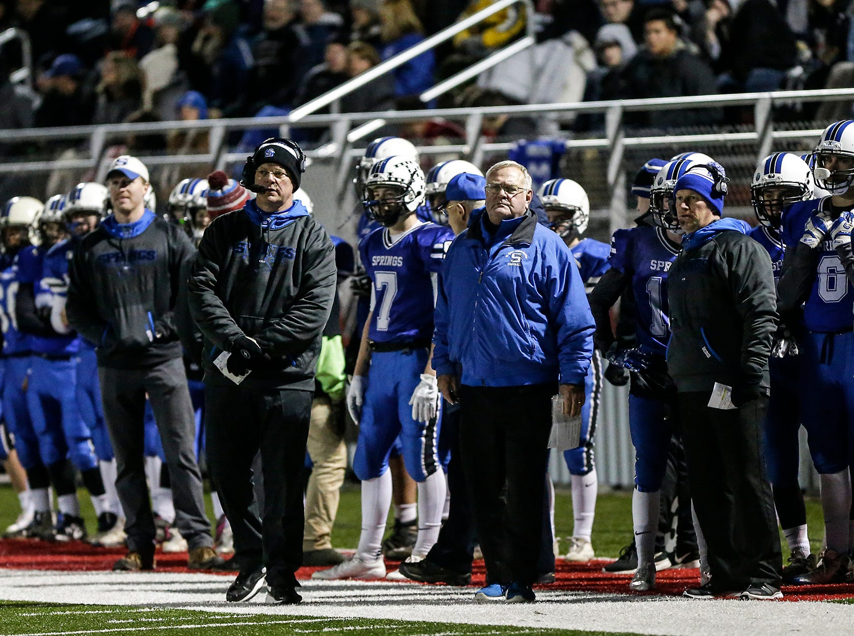 St. Mary's Springs Academy football's players and coaches look on during their WIAA division 5 level 3 playoff game against Amherst High School Friday, November 2, 2018 played in Lomira, Wisconsin. Springs won the game 12-0. Doug Raflik/USA TODAY NETWORK-Wisconsin