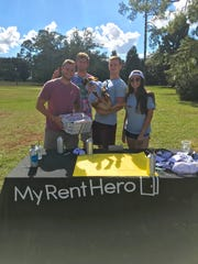 MyRentHero student ambassadors promote the app on Landis Green.