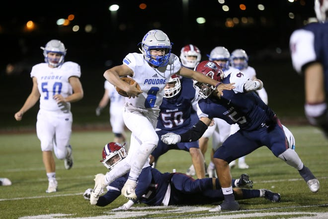 Quarterback Sergio Tarango, shown against Cherokee Trail in a 2018 playoff game, and his Poudre High School football teammates open the 2019 season at home against Arvada West with a 6 p.m. game Thursday against at French Field.