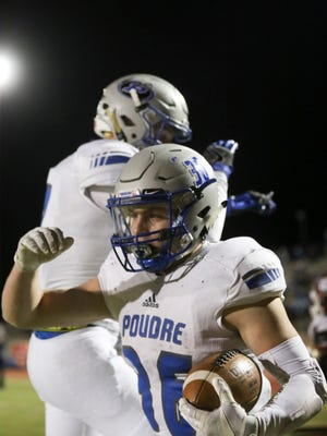 Poudre High School's Tate Satterfield celebrates his third quarter touchdown against Cherokee Trail High School on Friday evening in Aurora.