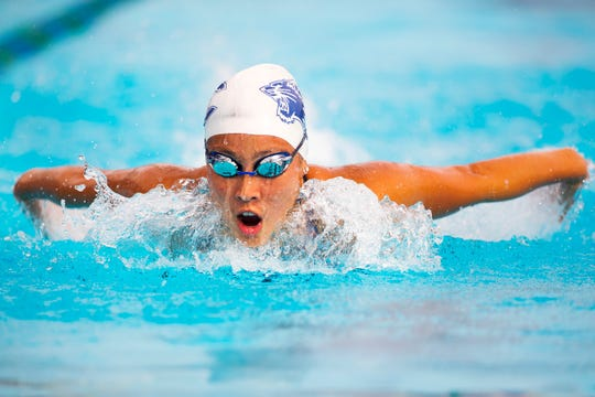 Estero High School's Kyleigh Harms competes in the girls 200-yard individual medley event on Saturday during the FHSAA Region 3A-3 Championships at the Lee County/FGCU Aquatic Center in Fort Myers.