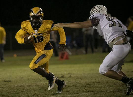 Percy Milledge of Lehigh runs the ball in their game against Riverdale in the final regular season game on Friday, November 2, 2018, at Lehigh Senior High School.