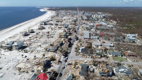 Aerial view of the devastating impact Hurricane Michael left behind along the Florida Panhandle's coastal town of Mexico Beach, Fla. Drone image was captured Tuesday, Oct. 16, 2018.