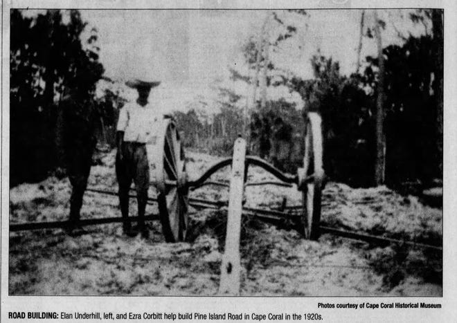 Pine Island Road being built in the 1920s, decades before Cape Coral would come into being.