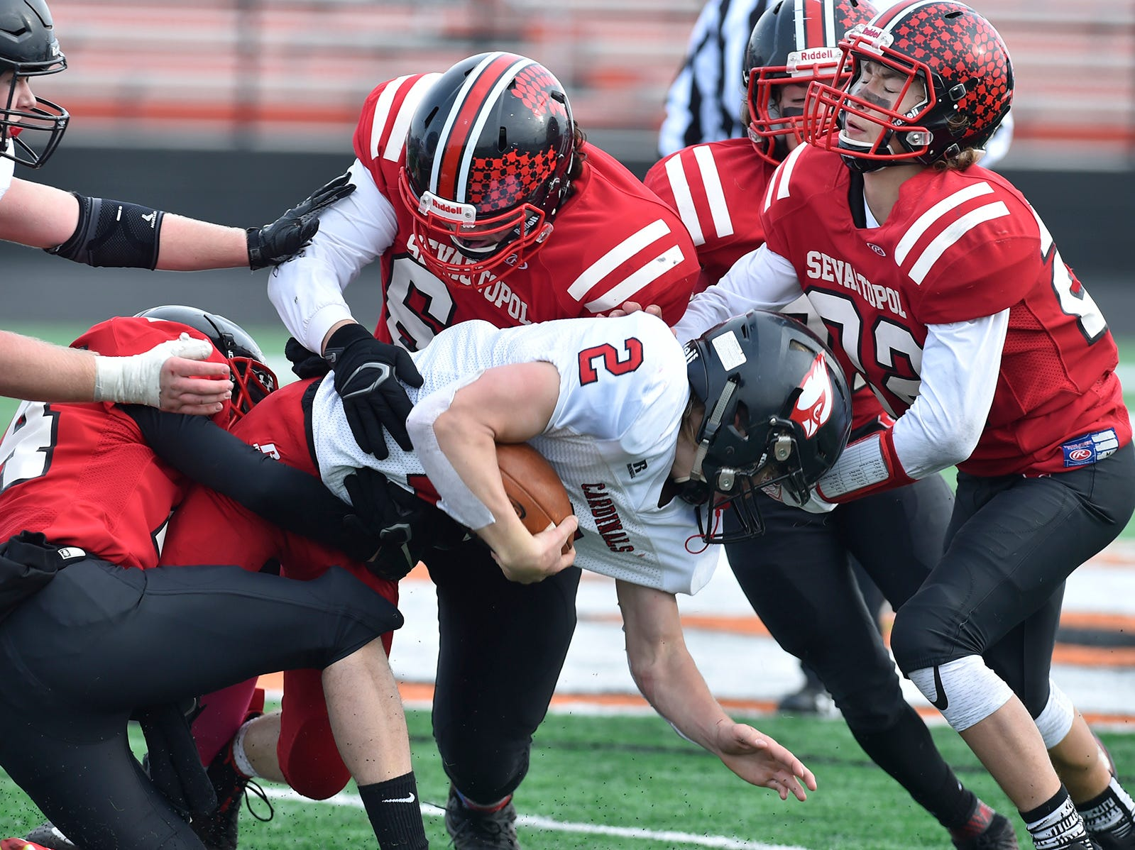 Sevastopol defense digs in deeper at the WIAA 8-Player State Championship game at Stanley-Boyd High School on Nov. 3, 2018. Tina M. Gohr/USA TODAY NETWORK-Wisconsin