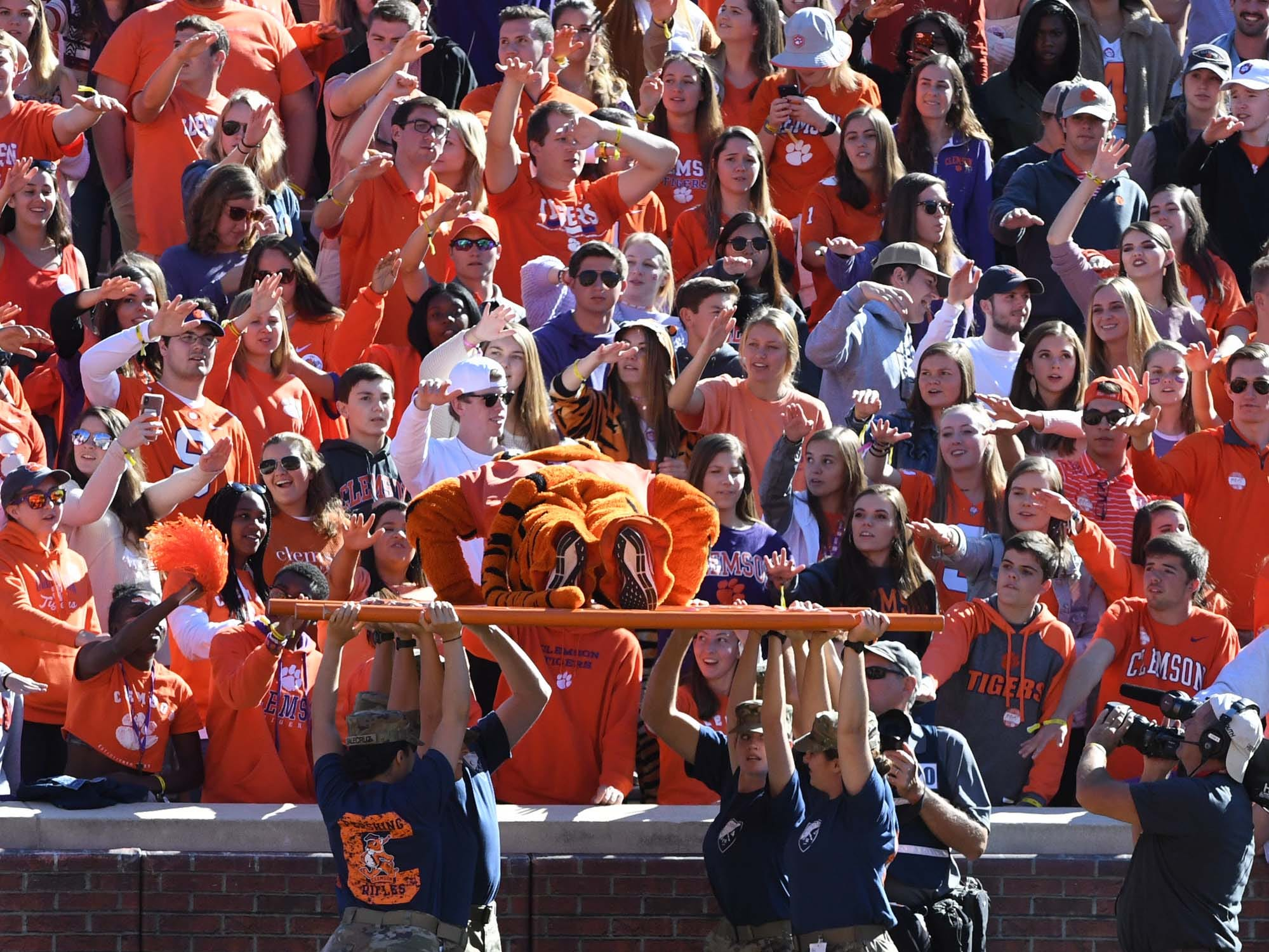 The Tiger performs 56 pushups near Clemson fans after Clemson wide receiver Trevion Thompson (1) scored a touchdown to make it 56-3 during the third quarter in Memorial Stadium on Saturday, November 3, 2018.
