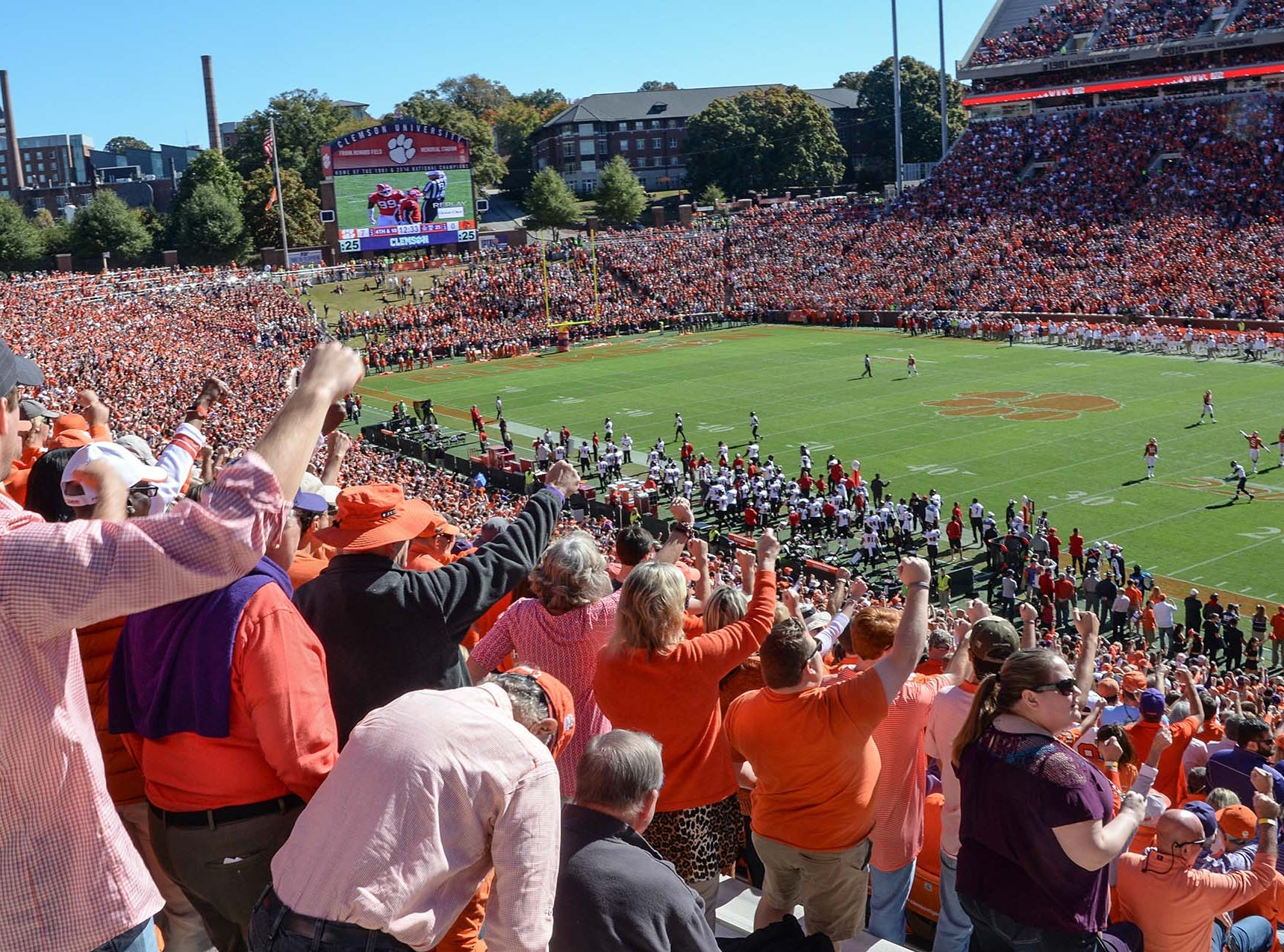 Clemson fans cheer during the first quarter in Memorial Stadium on Saturday, November 3, 2018.