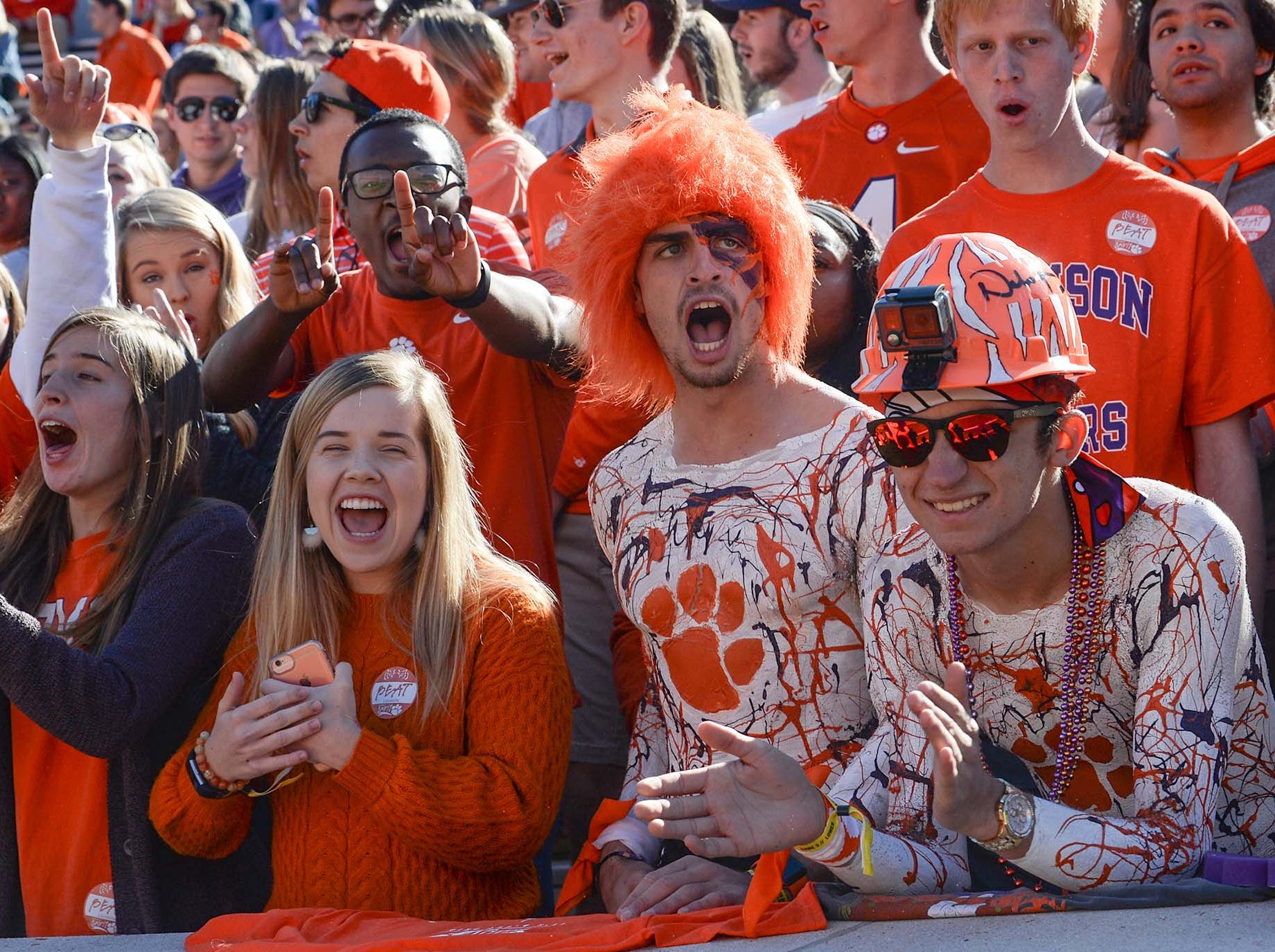 Clemson fans cheer in the student section as the team plays Louisville during the first quarter in Memorial Stadium on Saturday, November 3, 2018.