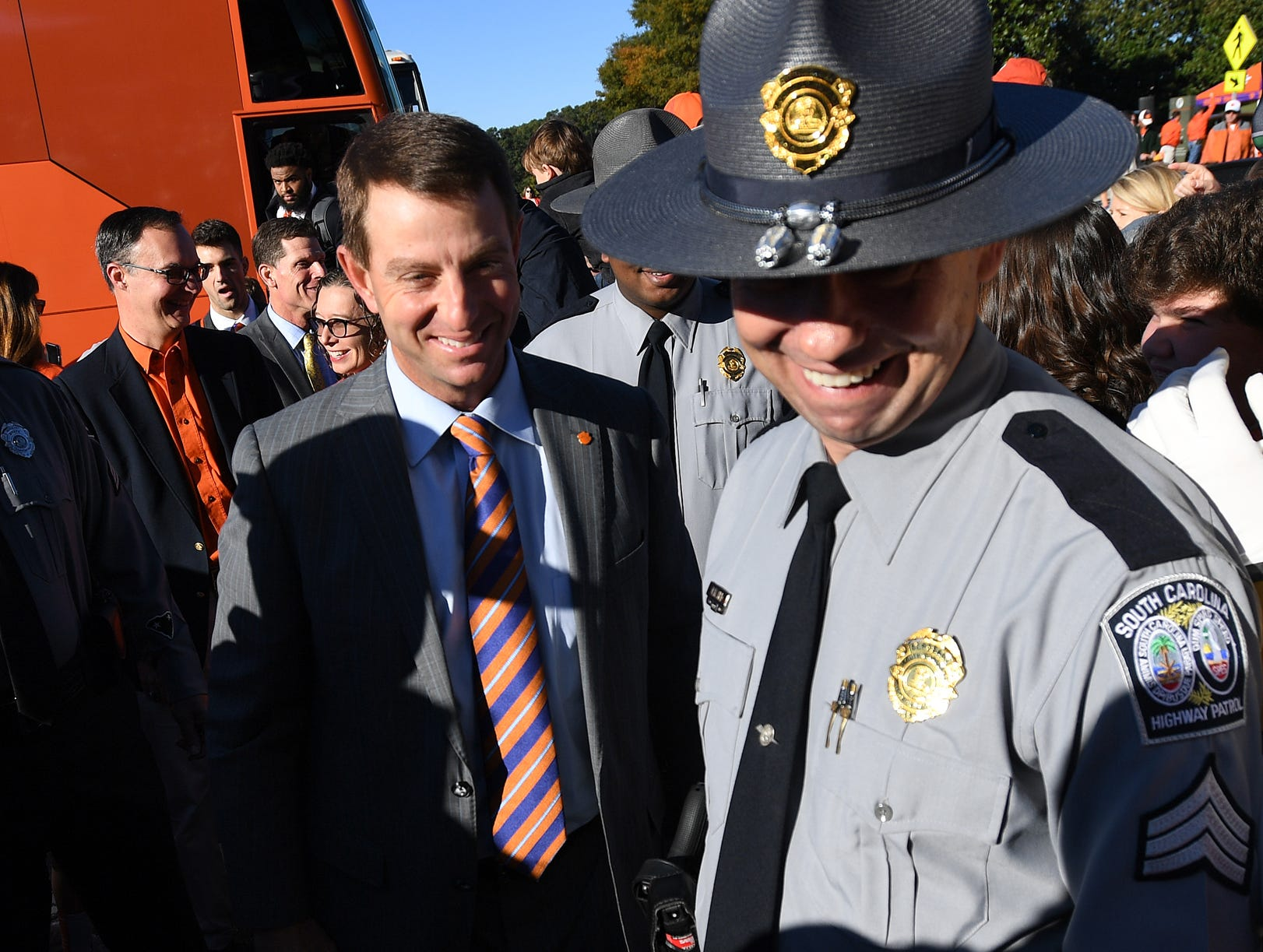 Clemson head coach Dabo Swinney takes part in Tiger Walk before the Tiger's game against Louisville Saturday, November 3, 2018 at Clemson's Memorial Stadium.