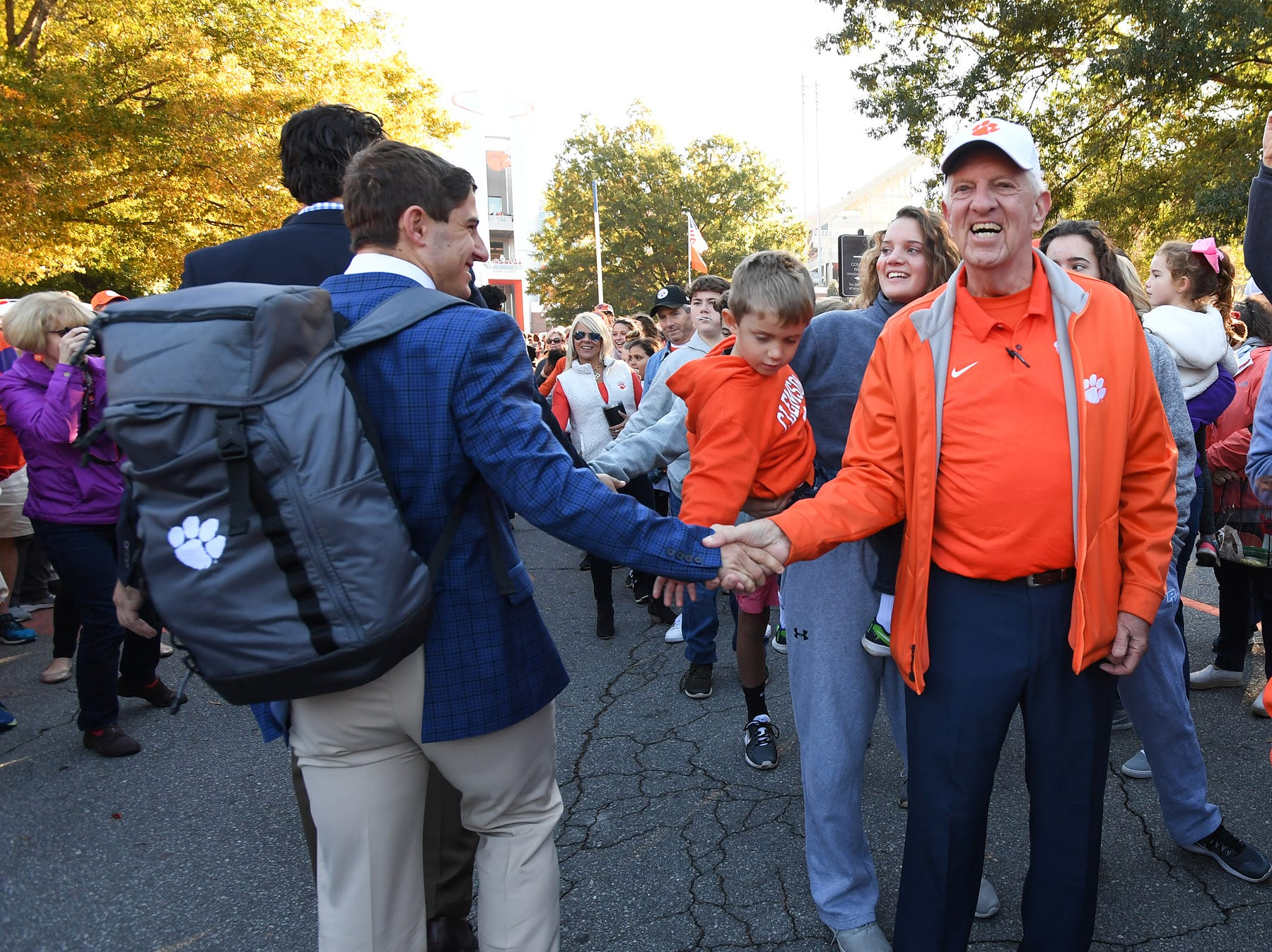 Clemson wide receiver Will Swinney takes part in Tiger Walk before the Tiger's game against Louisville Saturday, November 3, 2018 at Clemson's Memorial Stadium.