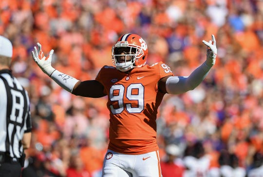 Clemson defensive lineman Clelin Ferrell (99) plays against Louisville during the 1st quarter Saturday, November 3, 2018 at Clemson's Memorial Stadium.