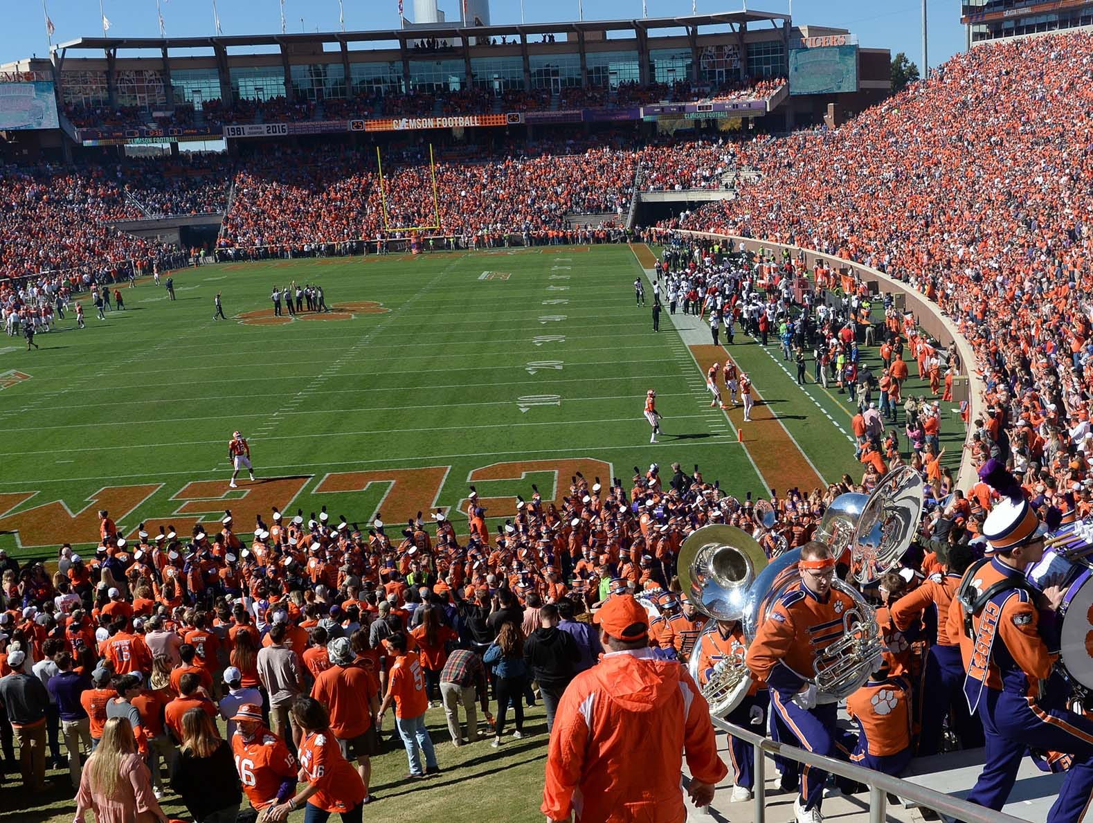Clemson fans watch the Louisville game during the first quarter in Memorial Stadium on Saturday, November 3, 2018.