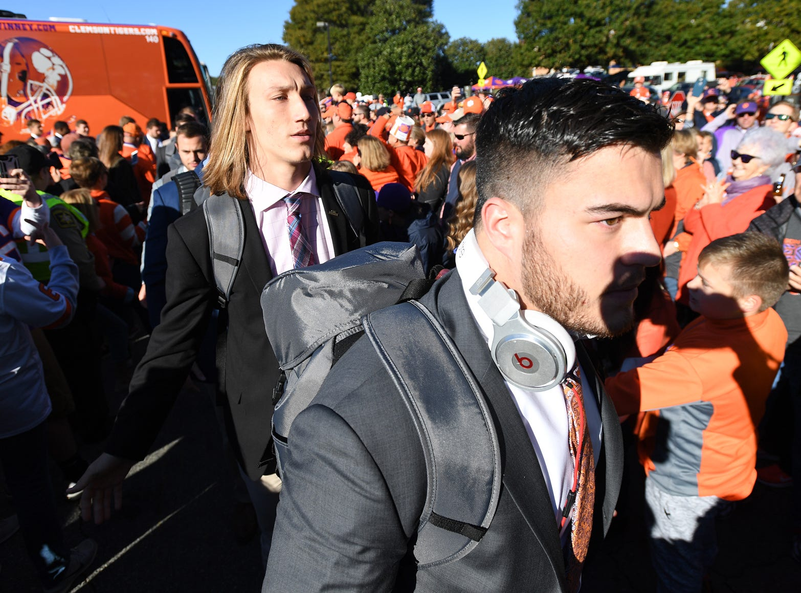 Clemson quarterback Trevor Lawrence takes part in Tiger Walk before the Tiger's game against Louisville Saturday, November 3, 2018 at Clemson's Memorial Stadium.