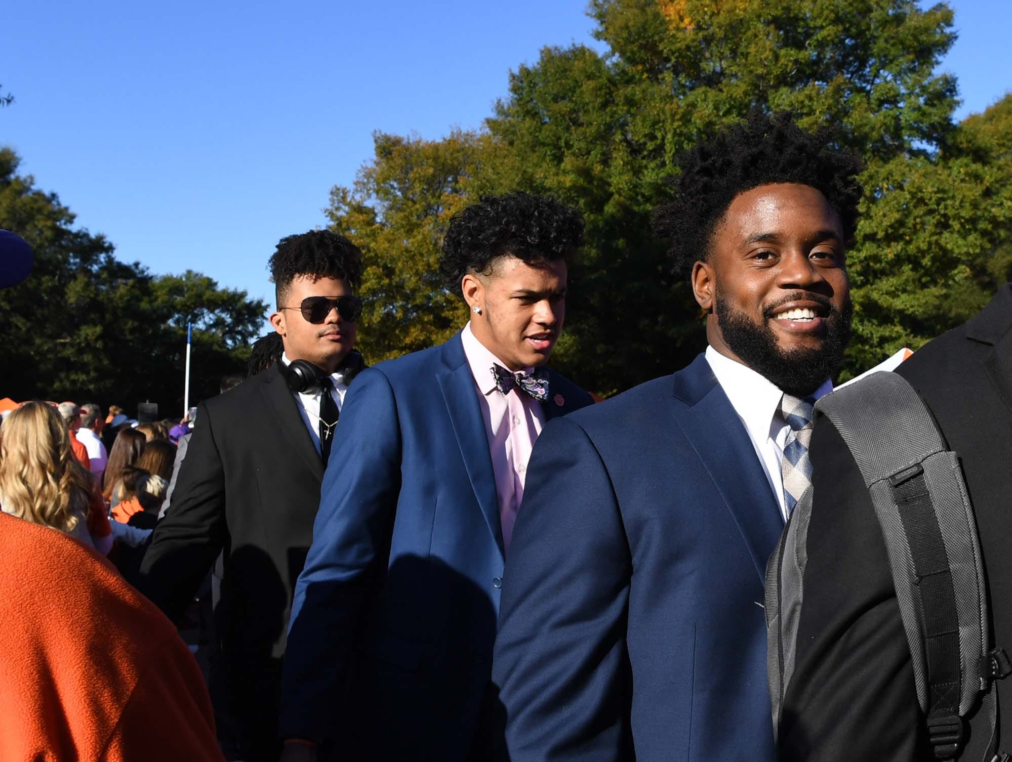 Clemson linebacker Kendall Joseph greets fans during Tiger Walk before the game in Memorial Stadium on Saturday, November 3, 2018.
