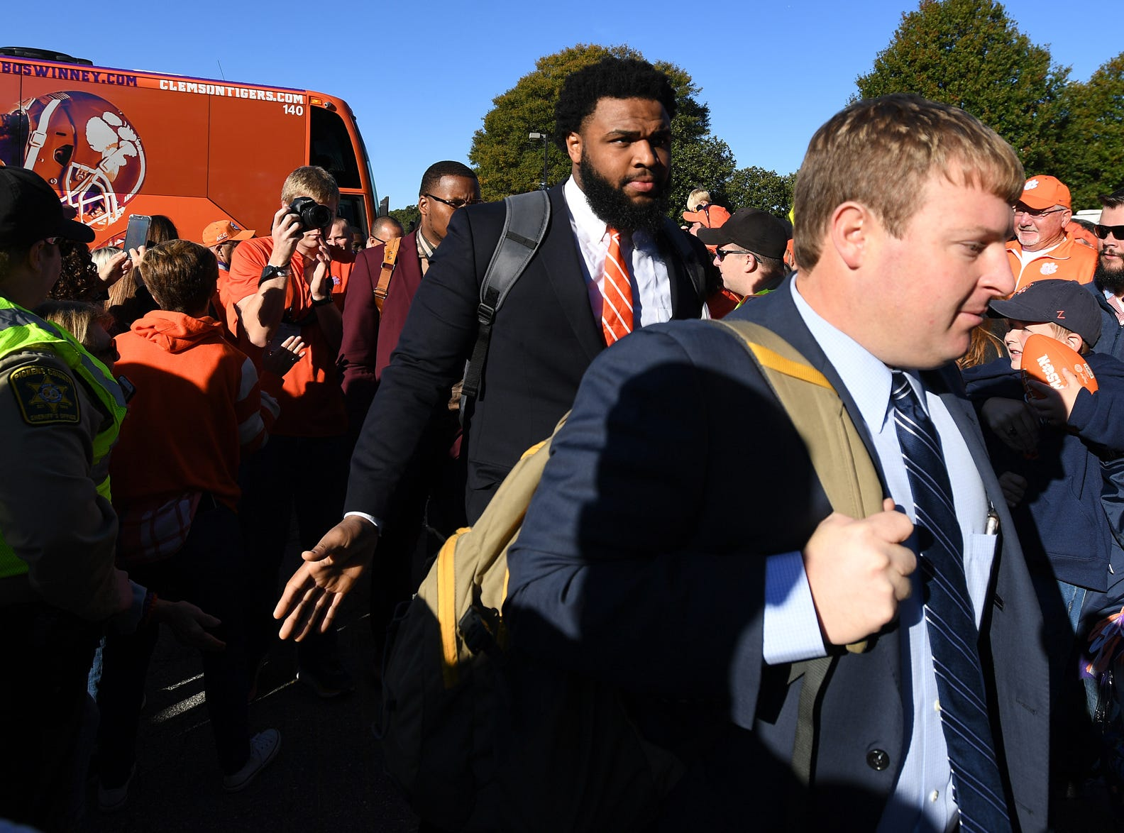 Clemson defensive lineman Christian Wilkins takes part in Tiger Walk before the Tiger's game against Louisville Saturday, November 3, 2018 at Clemson's Memorial Stadium.