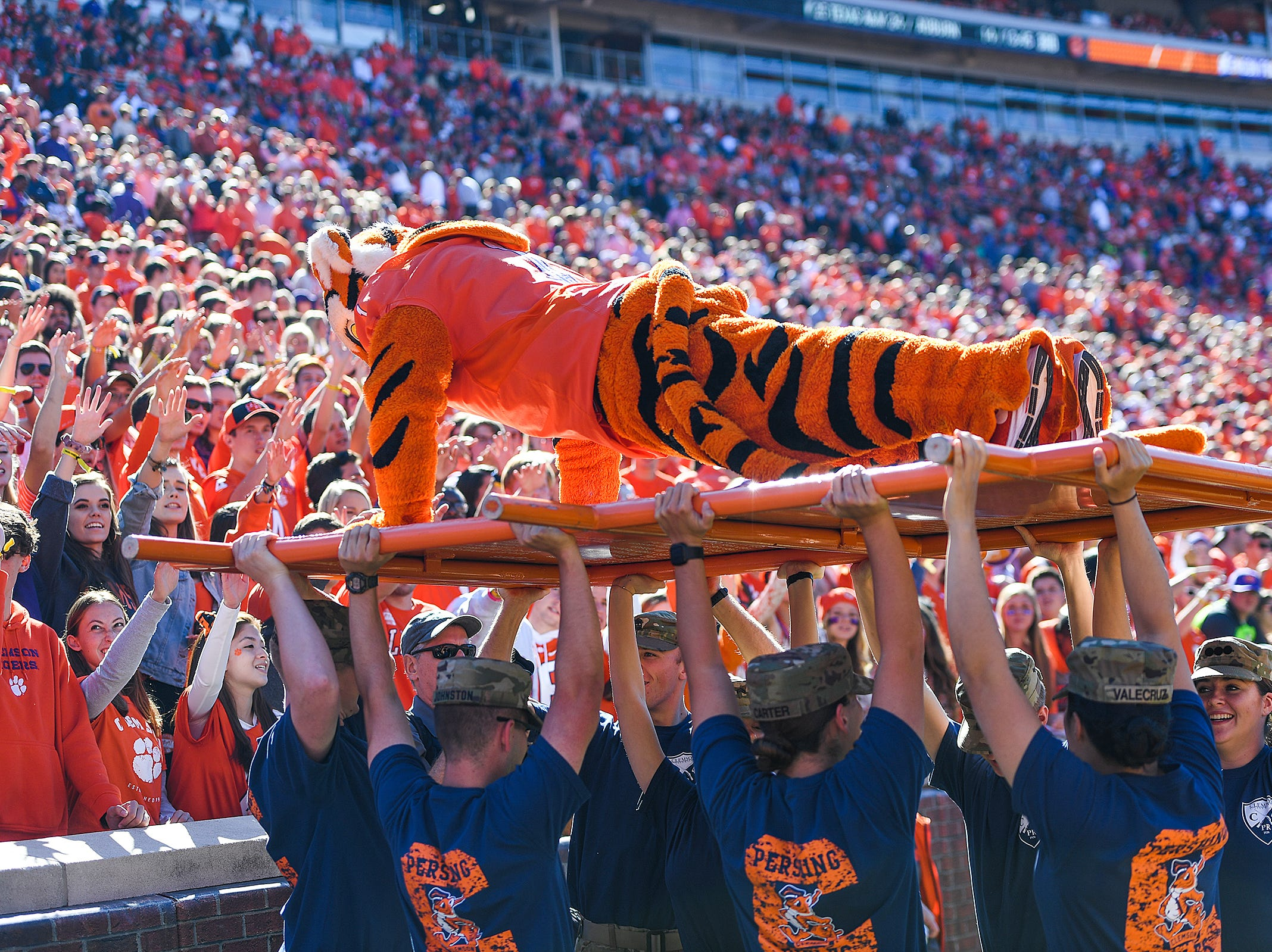 Clemson's Tiger does push ups after a Tiger score against Louisville during the 3rd quarter Saturday, November 3, 2018 at Clemson's Memorial Stadium.