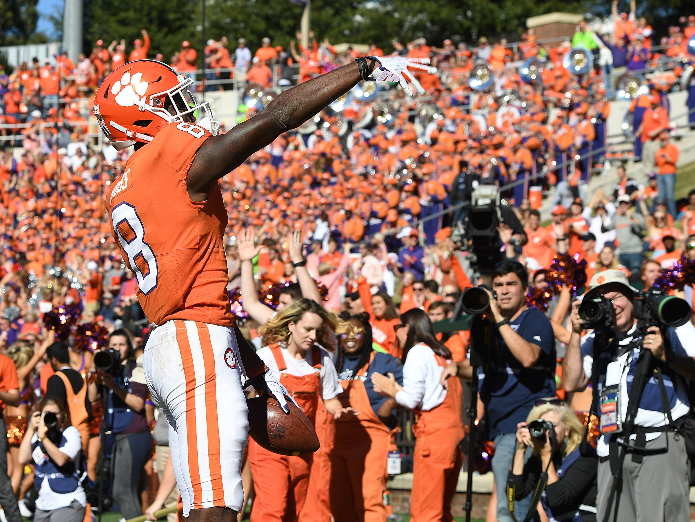Clemson wide receiver Justyn Ross (8) reacts after scoring against Louisville during the 3rd quarter Saturday, November 3, 2018 at Clemson's Memorial Stadium.