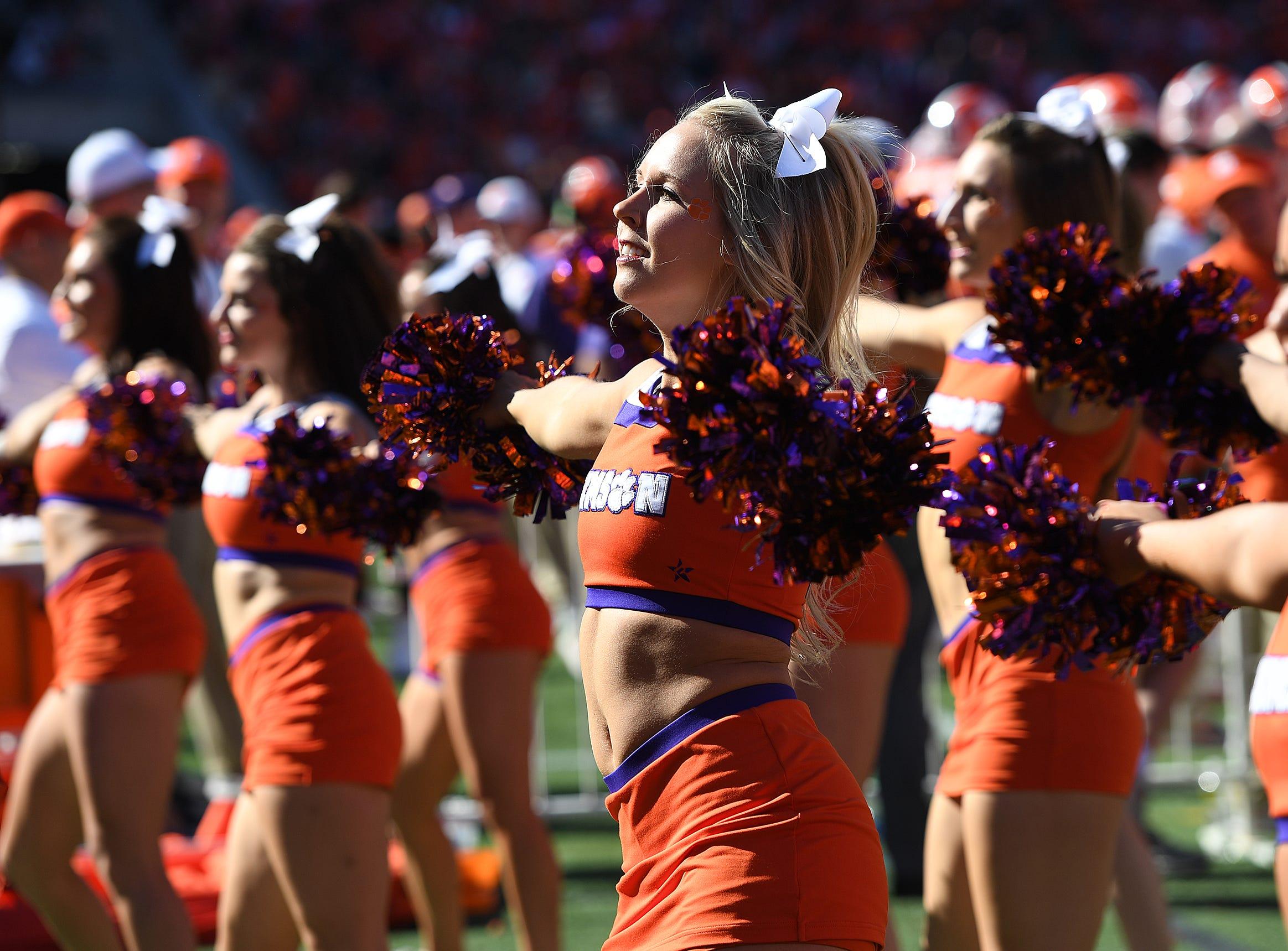Clemson's cheerleaders during the 3rd quarter Saturday, November 3, 2018 at Clemson's Memorial Stadium.