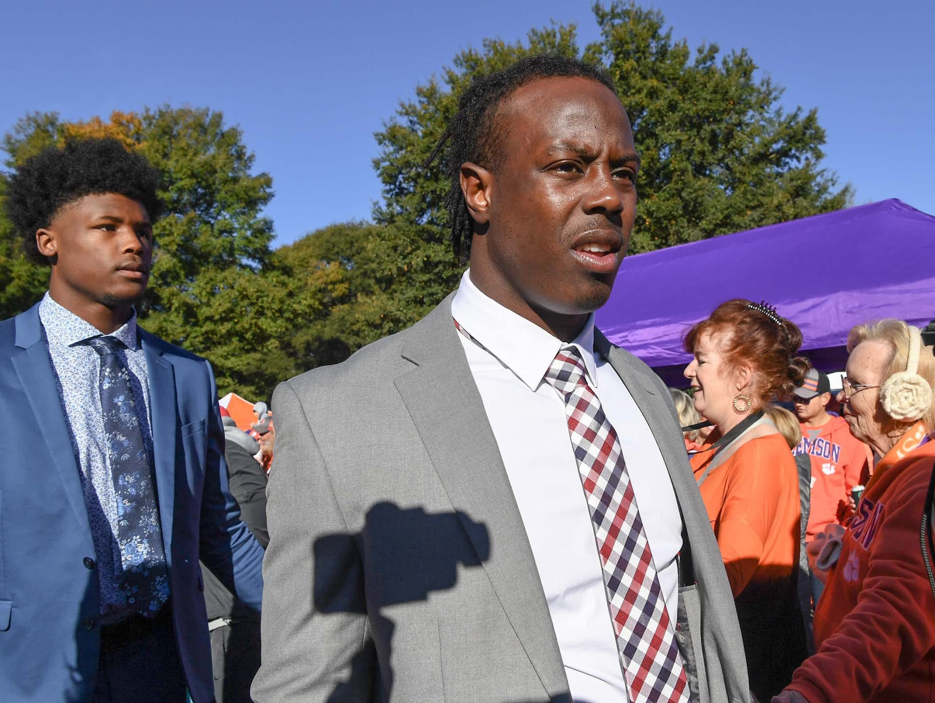 Clemson wide receiver Tee Higgins, left, and running back Travis Etienne during Tiger Walk before the game in Memorial Stadium on Saturday, November 3, 2018.