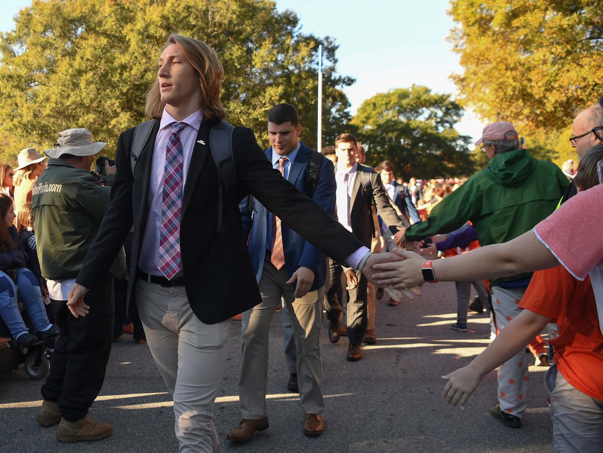 Clemson quarterback Trevor Lawrence during Tiger Walk before the game in Memorial Stadium on Saturday, November 3, 2018.
