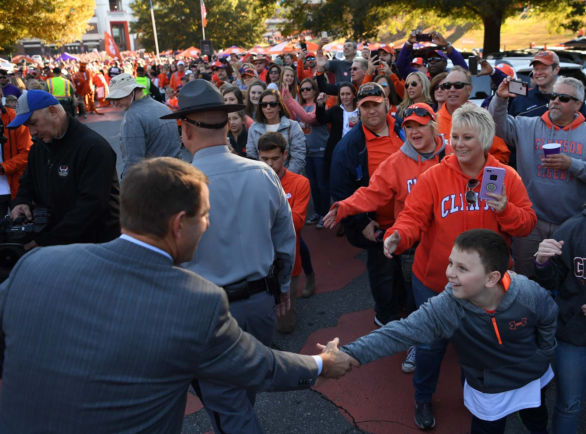 Clemson Head Coach Dabo Swinney during Tiger Walk before the game in Memorial Stadium on Saturday, November 3, 2018.