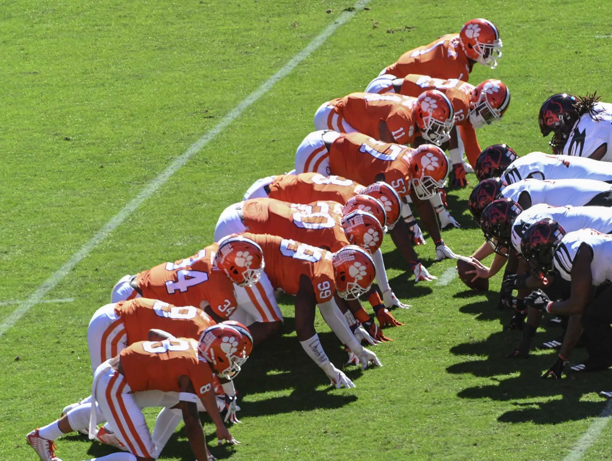 Clemson defense lines up as Louisville kicks a field goal during the first quarter in Memorial Stadium on Saturday, November 3, 2018.