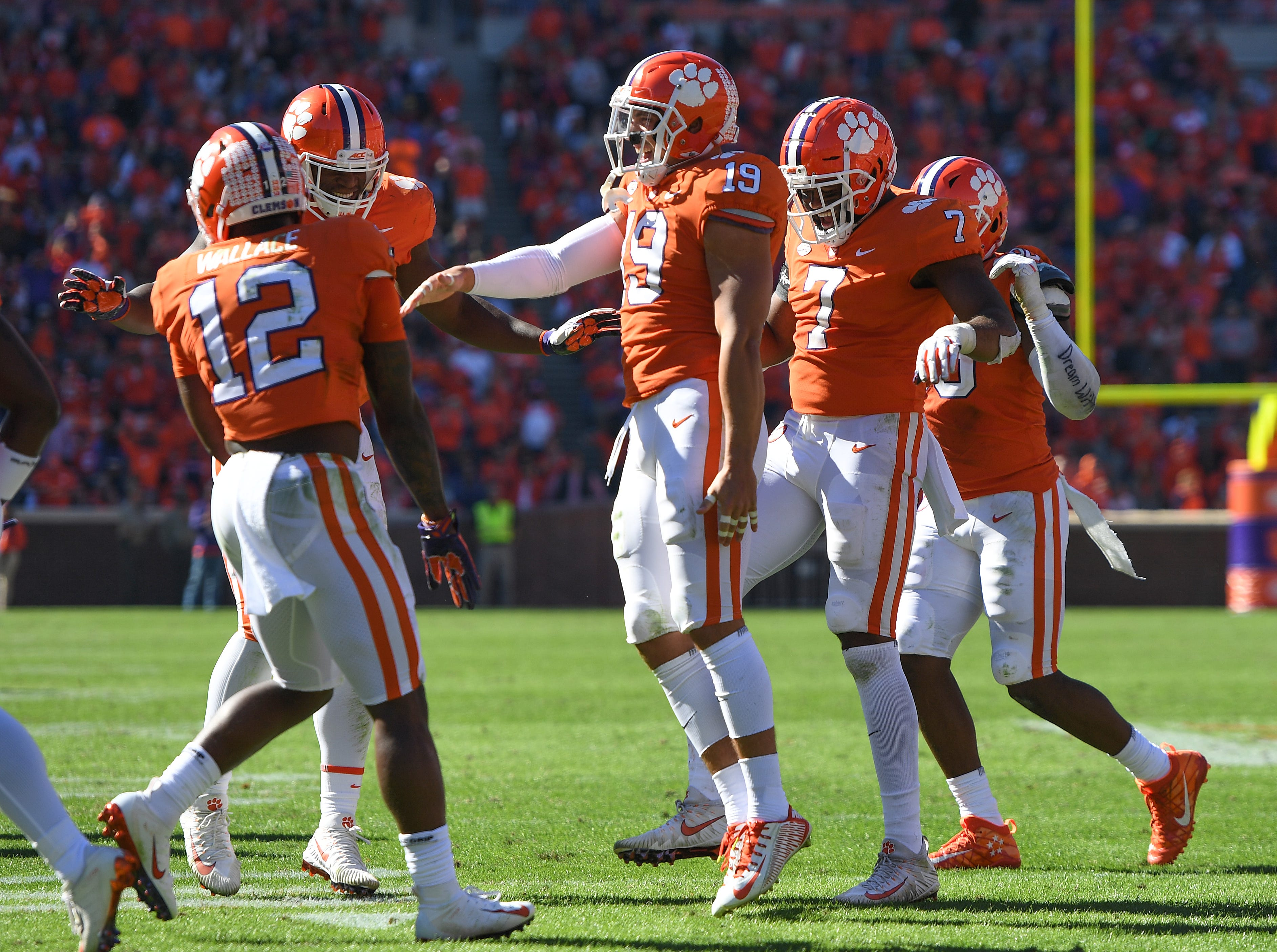 Clemson defensive back Tanner Muse (19) celebrates after intercepting a Louisville pass during the 3rd quarter Saturday, November 3, 2018 at Clemson's Memorial Stadium.