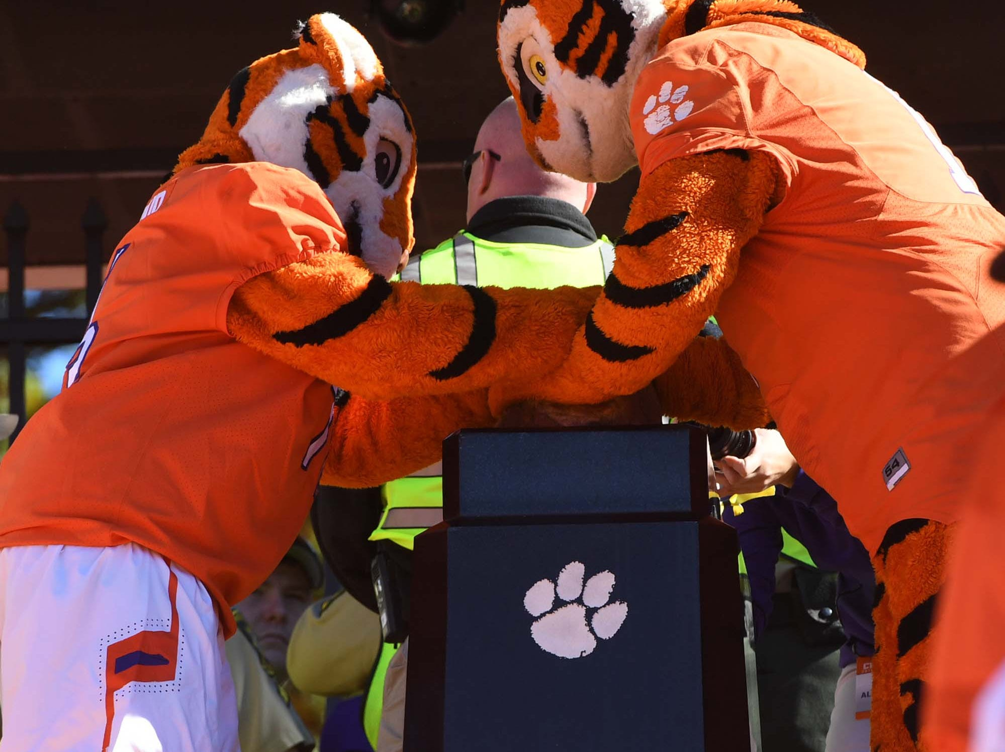 The Tiger Cub and Tiger rub Howard's Rock before the game in Memorial Stadium on Saturday, November 3, 2018.