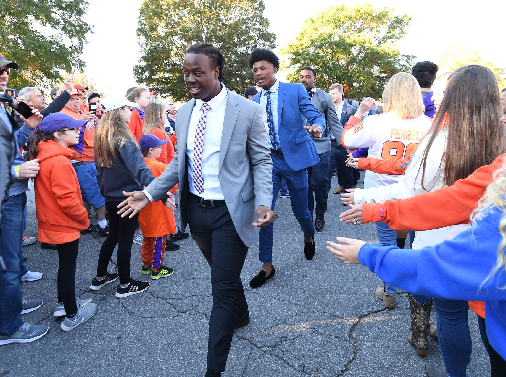 Clemson running back Travis Etienne takes part in Tiger Walk before the Tiger's game against Louisville Saturday, November 3, 2018 at Clemson's Memorial Stadium.