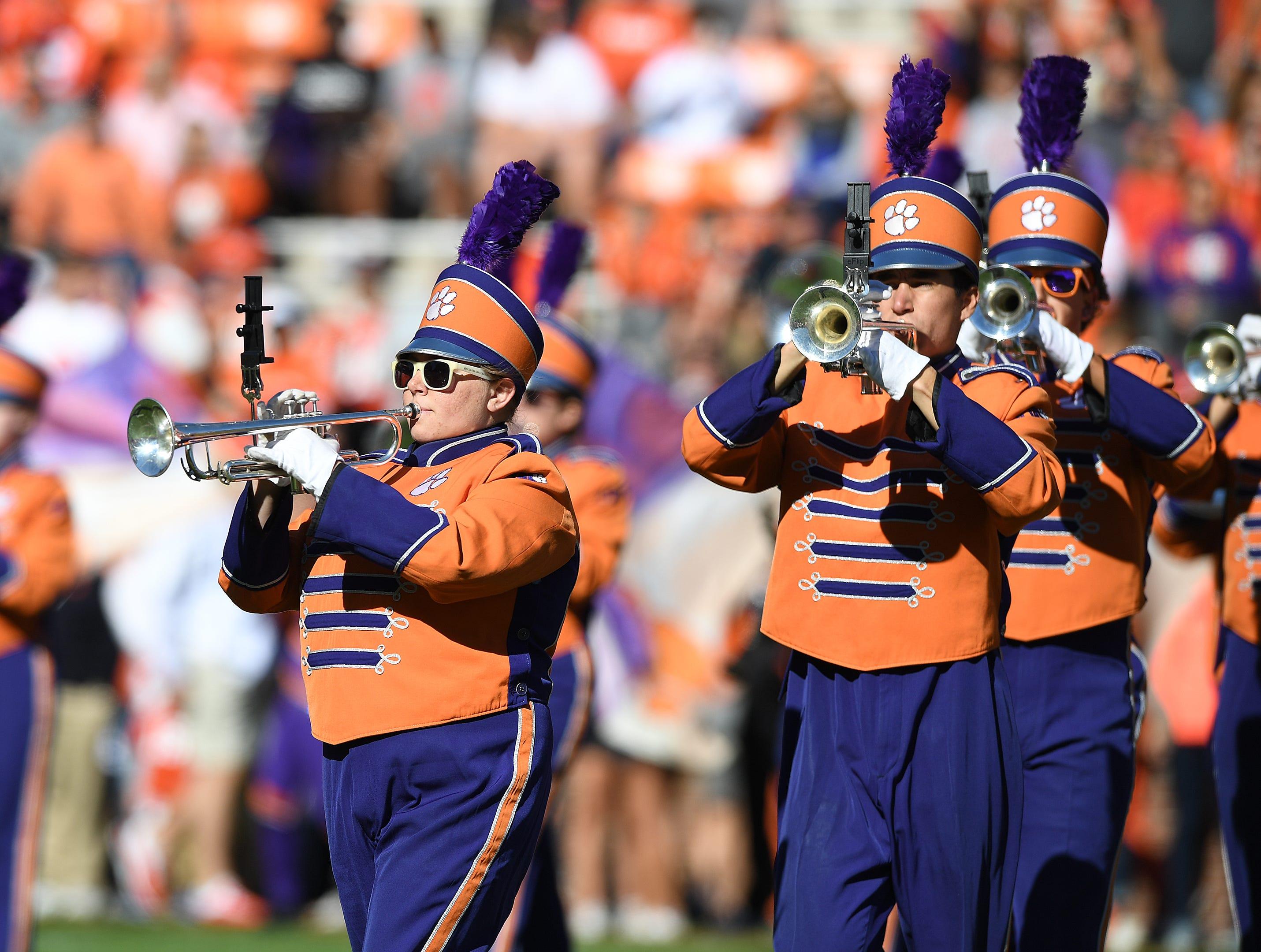 Clemson's band during pregame Saturday, November 3, 2018 at Clemson's Memorial Stadium.