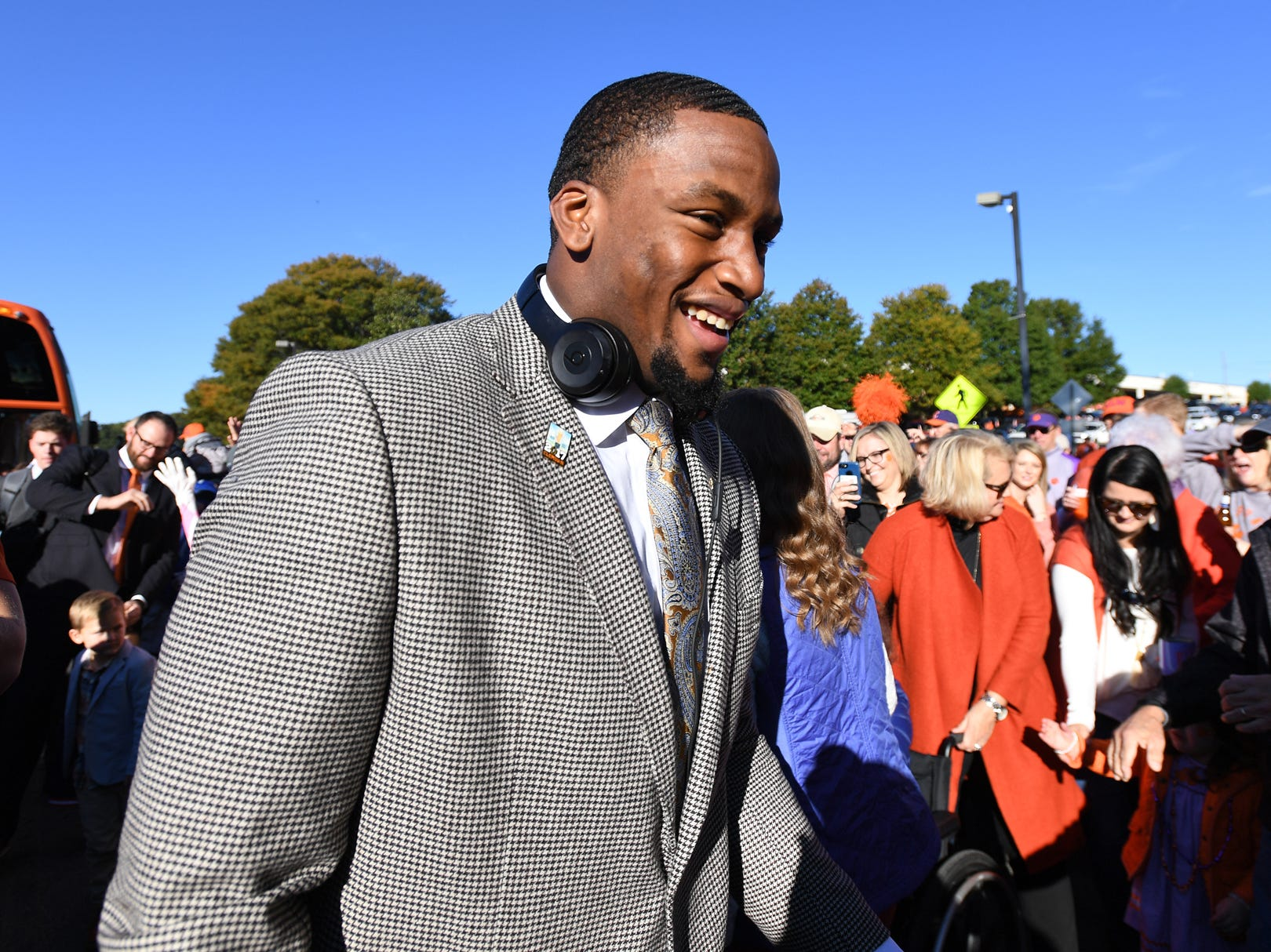 Clemson defensive lineman Clelin Ferrell takes part in Tiger Walk before the Tiger's game against Louisville Saturday, November 3, 2018 at Clemson's Memorial Stadium.
