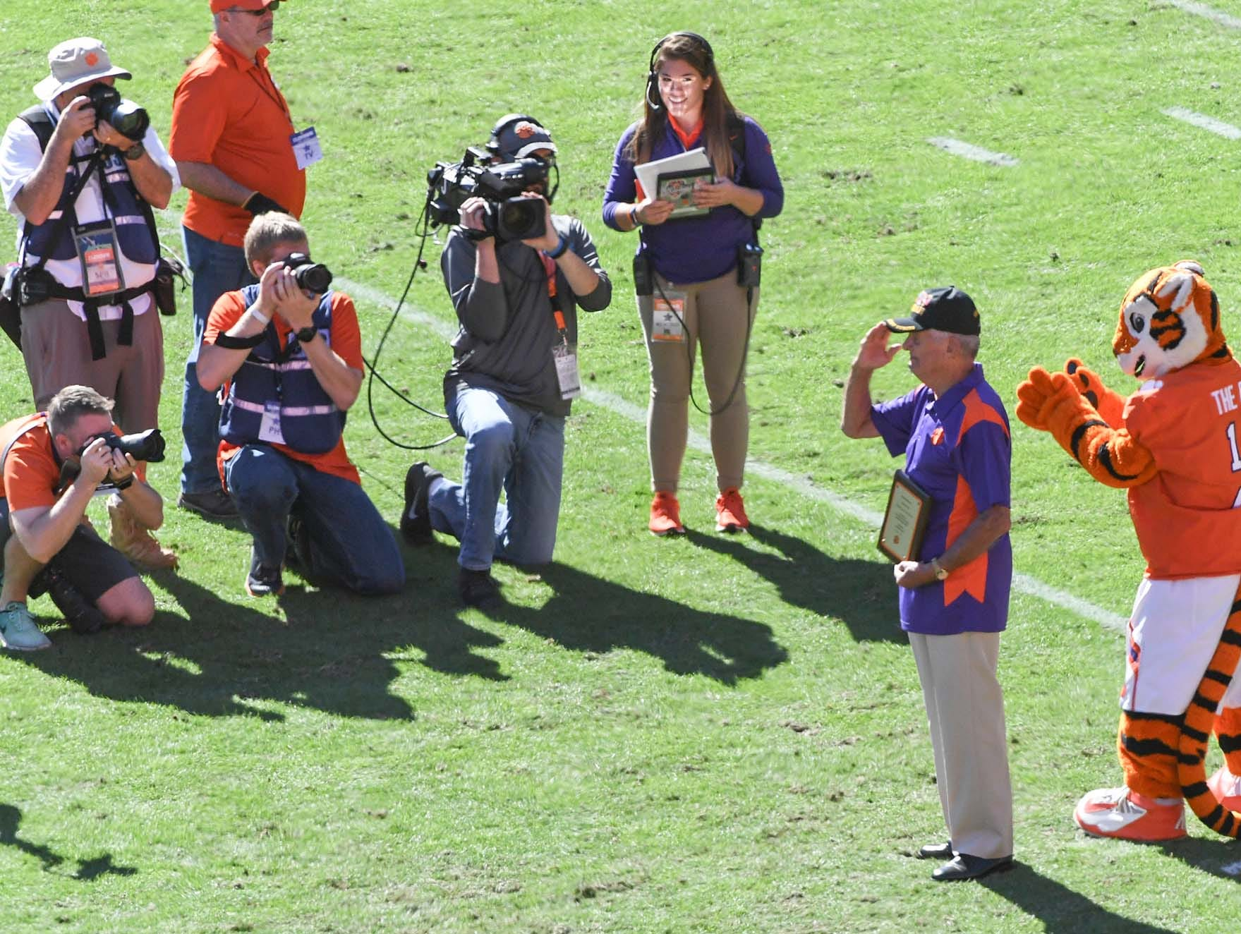 Col. Matt Wood, who served in the U.S. Army in the Korean and Vietnam Wars, earning a Purple Heart and Bronze Star, was honored during a break in the first quarter in Memorial Stadium on Saturday, November 3, 2018.