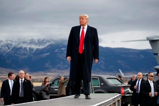 President Donald Trump campaigns on behalf of Montana Republicans in 2018 near Bozeman.