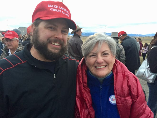 Pam Vasey and Don Sowers camped overnight Friday along with other members of their church for Saturday's Trump rally in Belgrade.